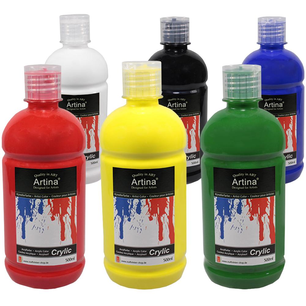 acrylfarben crylic von artina in 500 ml tuben acrylfarbe malfarbe f k nstler ebay. Black Bedroom Furniture Sets. Home Design Ideas