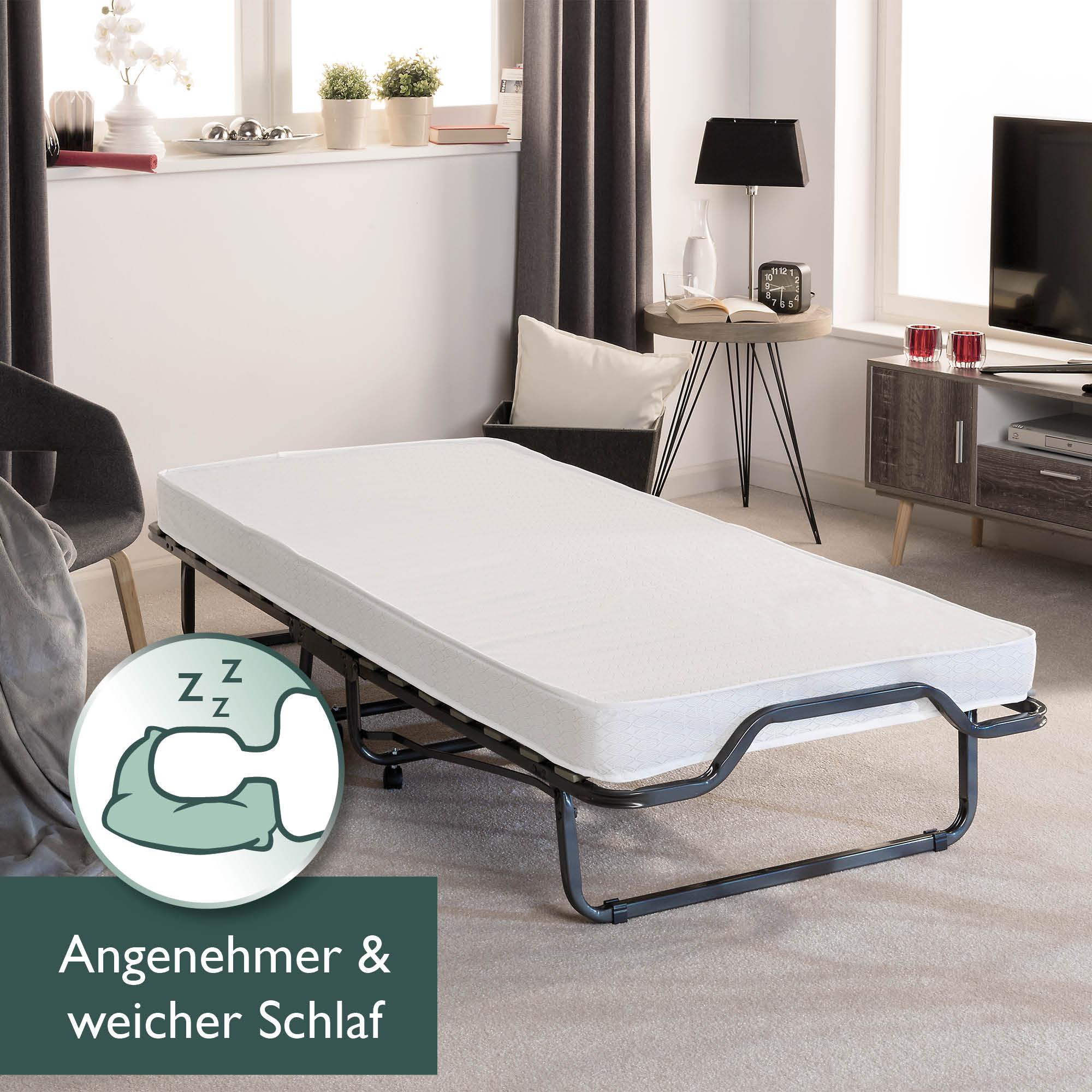 klappbett 90x200 cm g stebett mit matratze klappbar. Black Bedroom Furniture Sets. Home Design Ideas